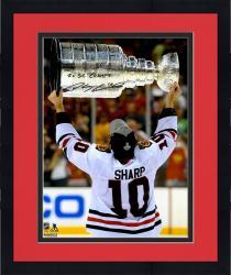 "Framed Patrick Sharp Chicago Blackhawks Autographed Raising Cup 16"" x 20"" Photograph with 2X SC Champs Inscription"