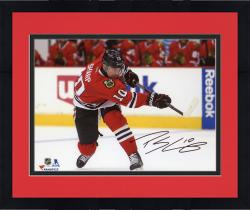 "Framed Patrick Sharp Chicago Blackhawks Autographed Red Jersey Shooting 8"" x 10"" Photograph"