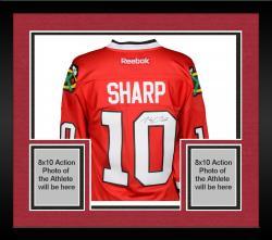 Framed Patrick Sharp Chicago Blackhawks Autographed Red Reebok Premier Jersey
