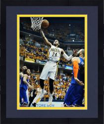 """Framed Paul George Indiana Pacers Autographed 16"""" x 20"""" White Layup Photograph"""