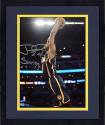 """Framed Paul George Indiana Pacers Autographed 8"""" x 10"""" Blue Dunk Photograph with Soaring Inscription"""