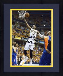 """Framed Paul George Indiana Pacers Autographed 8"""" x 10"""" Layup Photograph with Go Pacers Inscription"""