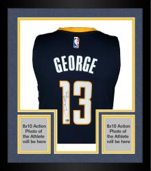 Framed Paul George Indiana Pacers Autographed Adidas Swingman Navy Jersey