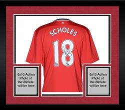 Framed Paul Scholes Manchester United Autographed Home Red Back Jersey - Mounted Memories  - Mounted Memories