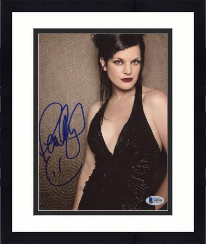 """Framed Pauley Perrette Autographed 8"""" x 10"""" Posing with Black Dress Photograph - Beckett COA"""