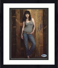 """Framed Pauley Perrette Autographed 8"""" x 10"""" Posing with Tank Top Photograph - Beckett COA"""
