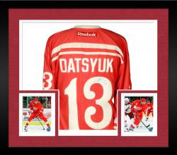 Framed Pavel Datsyuk Detroit Red Wings Autographed Reebok Away Jersey