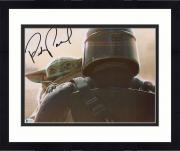 "Framed Pedro Pascal Star Wars Autographed 11"" x 14"" The Mandalorian Holding Baby Yoda Photograph"