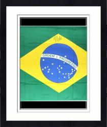 Framed Pele Autographed Flag of Brazil