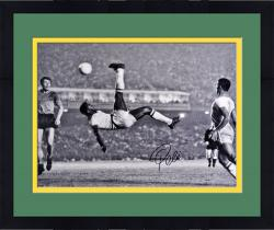 "Framed Pele Brazil Autographed 16"" x 20"" Bicycle Kick Photograph"