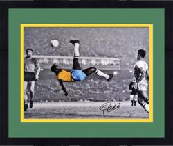 "Framed Pele Brazil Autographed 16"" x 20"" Bicycle Kick Spotlight Photograph"