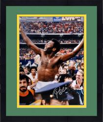 "Framed Pele Brazil Autographed 16"" x 20"" Shirtless Celebration Photograph"
