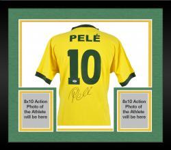 Framed Pele Brazil Autographed Toffs Yellow Jersey