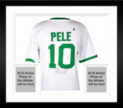 Framed Pele Brazil Autographed Cosmos White Green Jersey