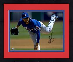 "Framed Martin Perez Texas Rangers Autographed 16"" x 20"" Blue Jersey Pitching Photograph"