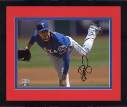 """Framed Martin Perez Texas Rangers Autographed 8"""" x 10"""" Blue Jersey Pitching Photograph"""