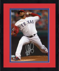 "Framed Martin Perez Texas Rangers Autographed 8"" x 10"" Pitching White Photograph"
