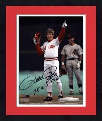"Framed Pete Rose Cincinnati Reds 4192 Autographed 8"" x 10"" Photograph with 75 WS MVP Inscription"