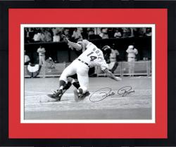 "Framed Pete Rose Cincinnati Reds Autographed 16"" x 20"" Collision with Catcher Photograph"