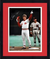 "Framed Pete Rose Cincinnati Reds Autographed 16"" x 20"" Pointing Photograph"