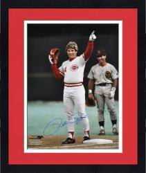 "Framed Pete Rose Cincinnati Reds Autographed 16"" x 20"" Record Hit Pointing Photograph"