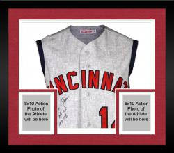 Framed Pete Rose Cincinnati Reds Autographed 1965 Jersey Vest with Hit King #4256 Inscription