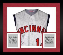 Framed Pete Rose Cincinnati Reds Autographed 1965 Jersey Vest with Hit King #4256 Inscription