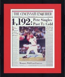 Framed Pete Rose Cincinnati Reds Autographed Cincinnati Enquirer Front Page