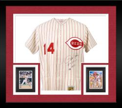 Framed Pete Rose Cincinnati Reds Autographed Mitchell & Ness Pinstripe Jersey with Hit King 4256 Inscription