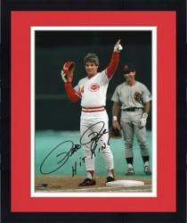 Framed Pete Rose Cincinnati Reds Record Breaking 4192 Hit Autographed 8'' x 10'' Photograph with Hit King Inscription