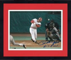Framed Pete Rose Cincinnati Reds Record Breaking At Bat Autographed 8'' x 10'' Photograph with Hit King Inscription