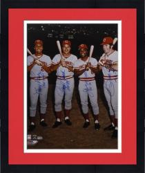 Framed Pete Rose, Johnny Bench, Tony Perez, and Joe Morgan Cincinnati Reds Big Red Machine Autographed 16'' x 20'' Photograph with Inscriptions