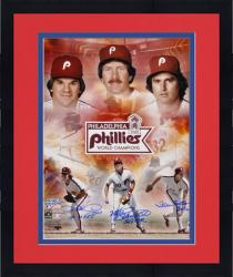 "Framed Pete Rose, Steve Carlton and Mike Schmidt Philadelphia Phillies 1980 World Series Autographed 16"" x 20"" Collage with 3 Inscriptions"