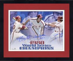 """Framed Pete Rose, Steve Carlton and Mike Schmidt Philadelphia Phillies 1980 World Series Autographed 16"""" x 20"""" Horizontal Photograph with 3 Inscriptions"""