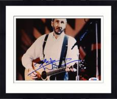 "Framed Pete Townshend Autographed 8""x 10"" The Who Playing Guitar in White Shirt Horizontal Photograph - PSA/DNA COA"