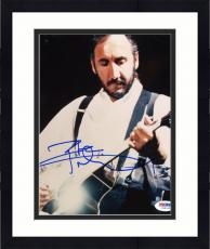 "Framed Pete Townshend Autographed 8""x 10"" The Who Playing Guitar in White Shirt Vertical Photograph - PSA/DNA COA"