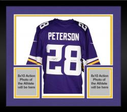 "Framed PETERSON, ADRIAN AUTO ""ALL DAY"" (VIKINGS/PURPLE/LTD) JERSEY - Mounted Memories"