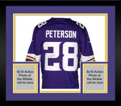 Framed PETERSON, ADRIAN AUTO (VIKINGS/PURPLE/LTD) JERSEY - Mounted Memories