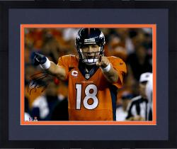 "Framed Peyton Manning Denver Broncos Autographed 16"" x 20"" Horizontal Orange Uniform Point Photograph"
