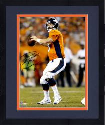 "Framed Peyton Manning Denver Broncos Autographed 16"" x 20"" Vertical Orange Uniform Throw Photograph"