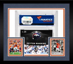 Framed Peyton Manning Denver Broncos Autographed 2013 Panini Black #31 Card with Piece of Game-Used Jersey - Mounted Memories