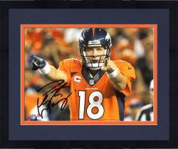 "Framed Peyton Manning Denver Broncos Autographed 8"" x 10"" Horizontal Orange Uniform Point Photograph"