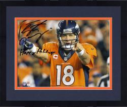 Framed Peyton Manning Denver Broncos Autographed 8'' x 10'' Photograph with Happy Holidays Inscription