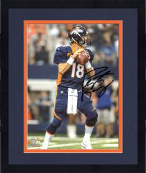 "Framed Peyton Manning Denver Broncos Autographed 8"" x 10"" Vertical Blue Uniform Standing Photograph"