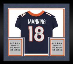 Framed Peyton Manning Denver Broncos Autographed Navy Blue Nike Elite Jersey