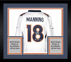 Framed Peyton Manning Denver Broncos Autographed Nike White Limited Jersey with Multiple Inscription