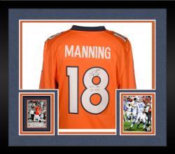 Framed Peyton Manning Denver Broncos Autographed Orange Nike Limited Jersey with NFL Rec 55 TDS Inscription