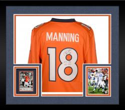 Framed Peyton Manning Denver Broncos Autographed Orange Nike Limited Jersey with NFL Rec 55 TDS Inscription