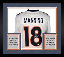 Framed Peyton Manning Denver Broncos Autographed White Nike Limited Jersey