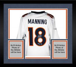Framed Peyton Manning Denver Broncos Autographed White Nike Limited Jersey with NFL Rec 55 TDS Inscription